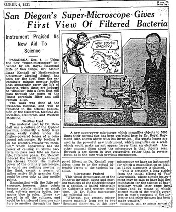 San Diego article on Rife Microscope, Circa 1931, ``Instrument praised as new aid to science``